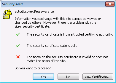Outlook certificate warning when adding an Exchange server