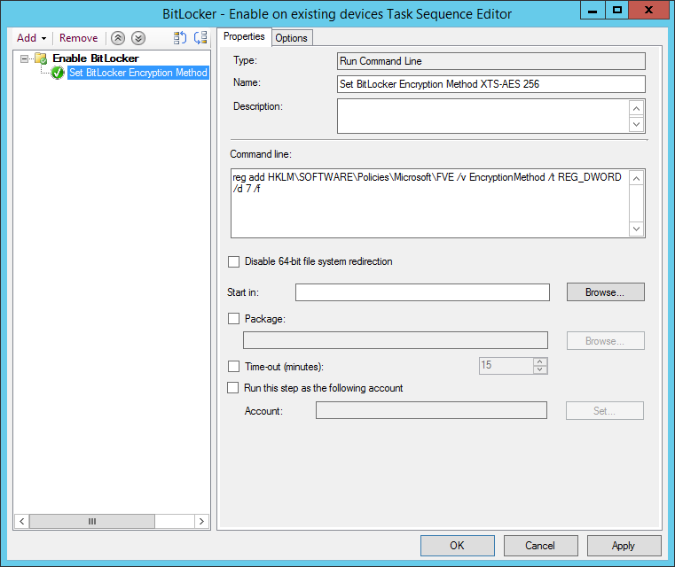 Configure the Run Command Line step