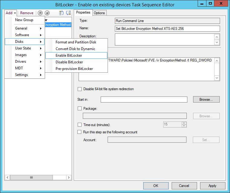 Add Enable BitLocker step