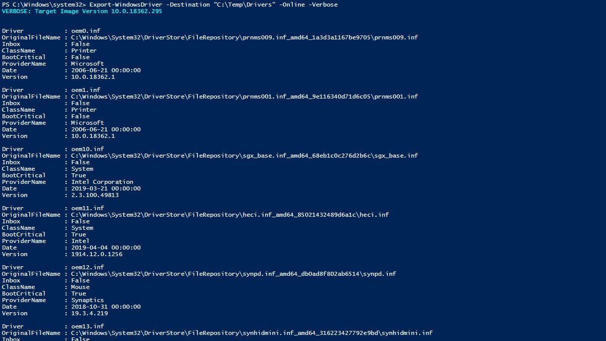 How to Export Drivers with Powershell