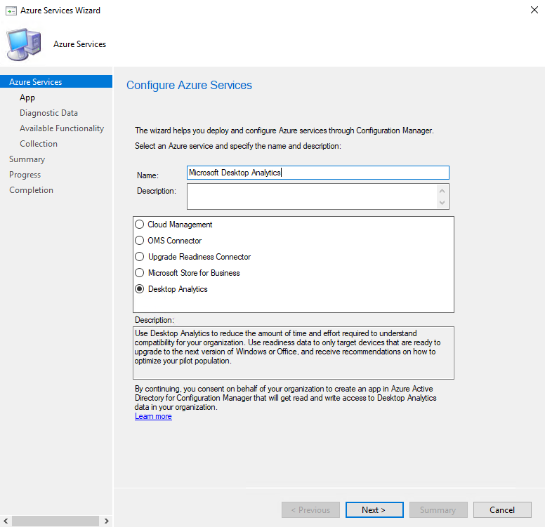Enter Azure service name and select Desktop Analytics