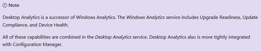 Desktop Analytics components.