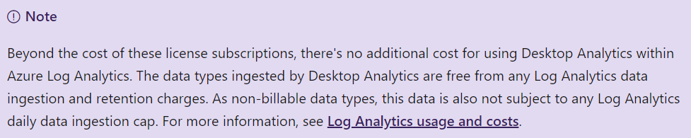 No additional costs for Desktop Analytics